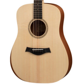 a brown guitar with a black neck