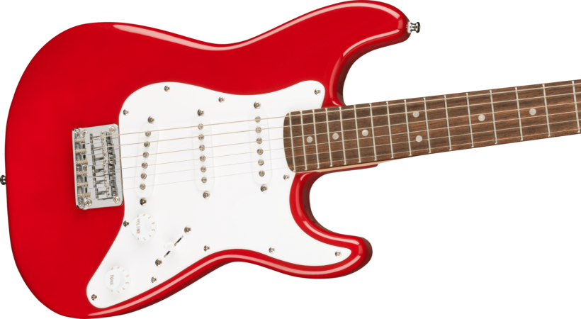 a red electric guitar