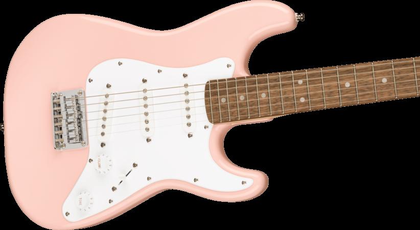 a pink electric guitar