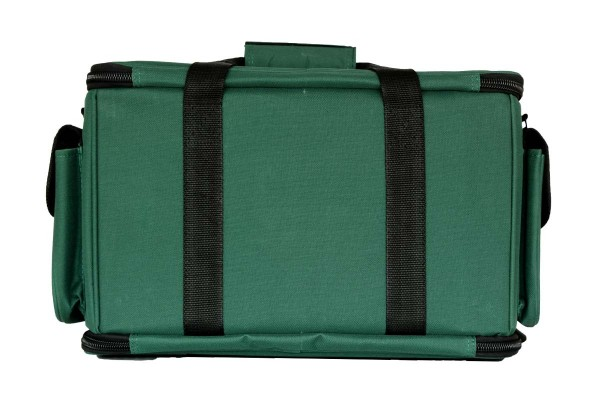 a green suitcase with a strap