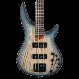 a blue electric guitar