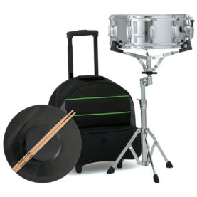 a black and green drum set