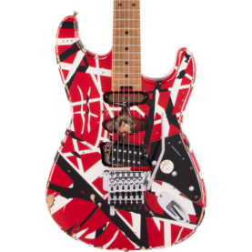 a guitar with a red and white design