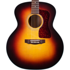 a red guitar with a black neck