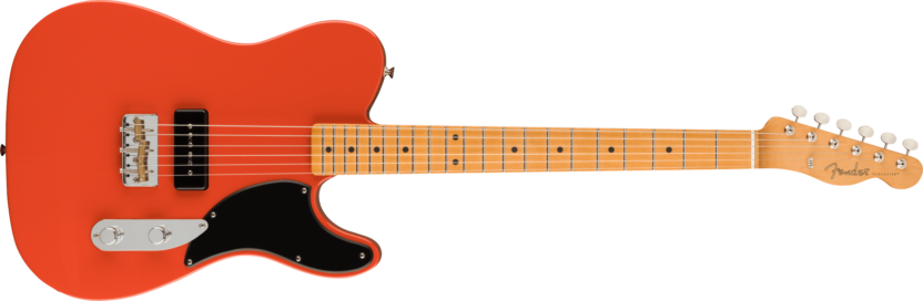 a guitar with a red and black background