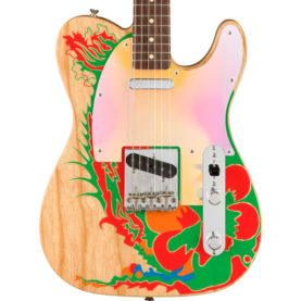 a guitar with a colorful design