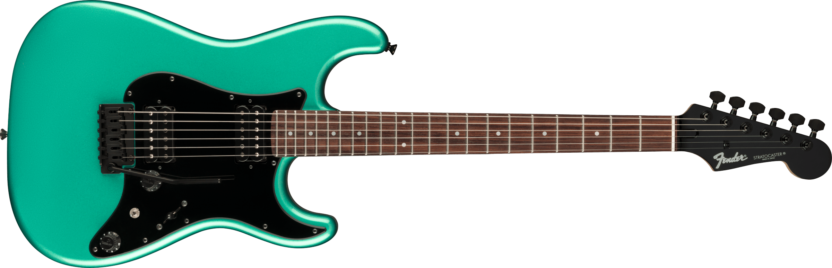 a guitar with a blue string