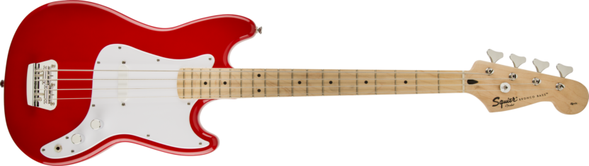 a red and white electric guitar