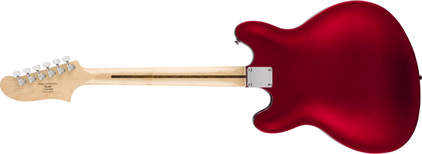 a wooden guitar with a red background
