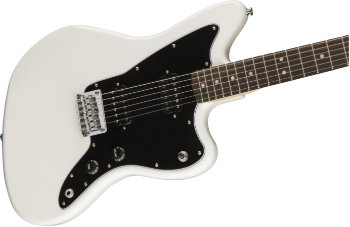 a black and white guitar
