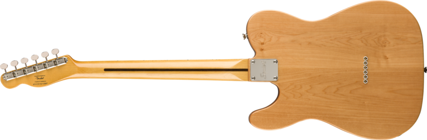 a wooden guitar with a white neck