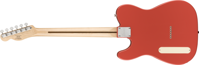 a red guitar with a white neck