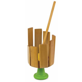 a wooden toy with a green base