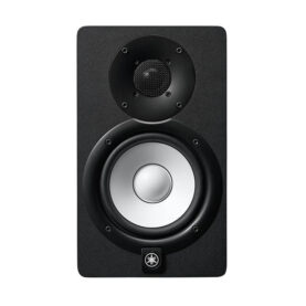 a black speaker with a round lens
