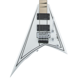 a white guitar with a black background