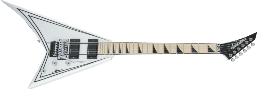 a black and white electric guitar