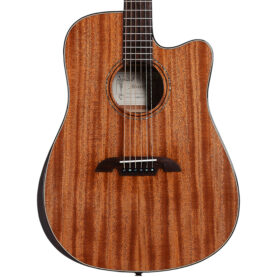 a wooden guitar with a black neck