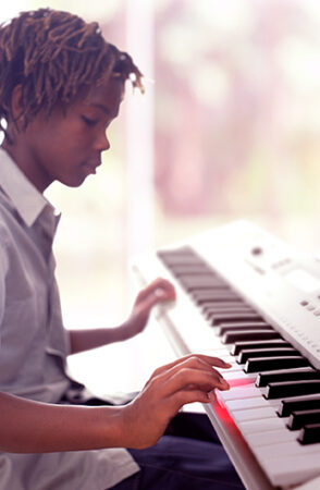 a person playing a piano