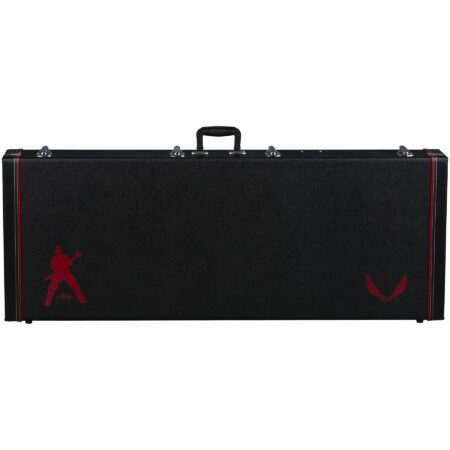 a black suitcase with a red bird on the side