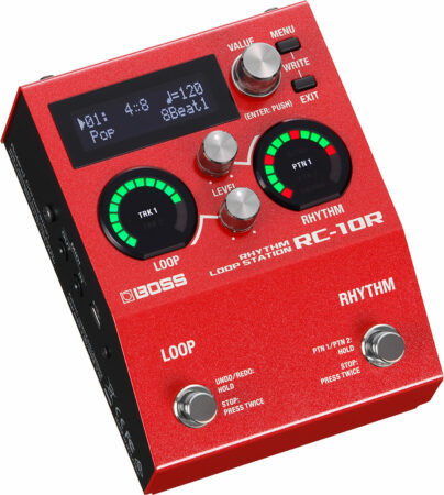 a red rectangular device with buttons and a screen
